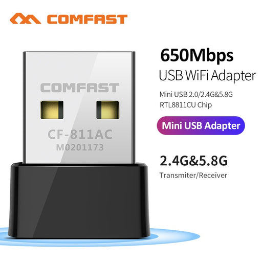 CF-811AC 650Mbs USB Wireless 2.4G&5G Wifi Adapter High speed Network Card RTL8811 Dual Band 802.11 AC Antenna For Laptop Desktop - Cards, Collectibles and Gadgets - CCG LLC