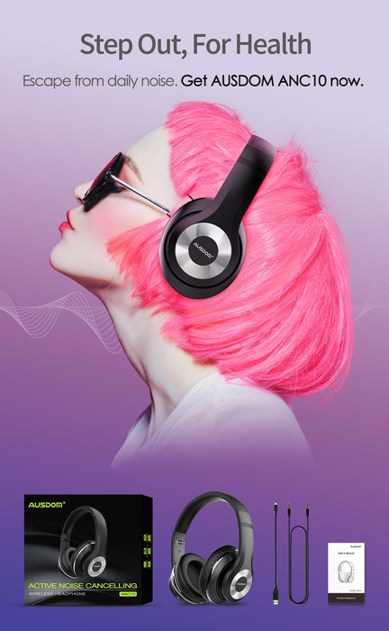 AUSDOM Foldable ANC10 Bluetooth Wireless Headphones - Active Noise Cancelling - Cards and Gadgets
