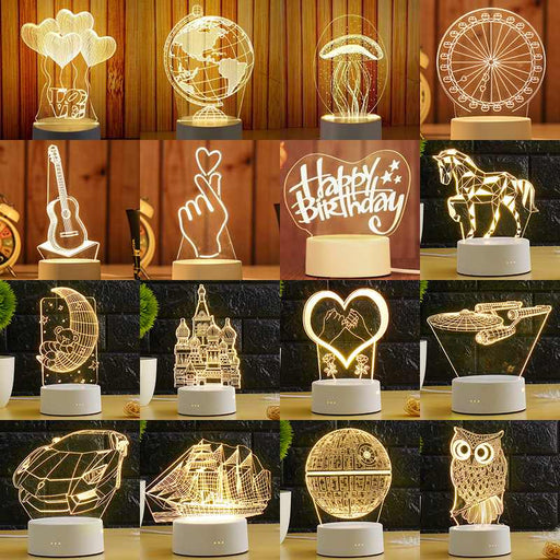 3D LED Night Lights For Home Decorative - Cards and Gadgets