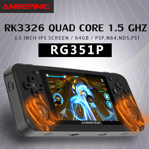 RG351P ANBERNIC  Retro Game PS1 RK3326 64G Open Source System 3.5 inch IPS Screen Portable Handheld Game Console RG351gift 2400 - Cards and Gadgets