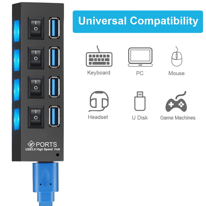 USB 3.0 Hub USB Hub 3.0 Multi USB Splitter 3 Hab Use Power Adapter 4/7 Port Multiple Expander 2.0 USB3 Hub with Switch for PC - Cards and Gadgets