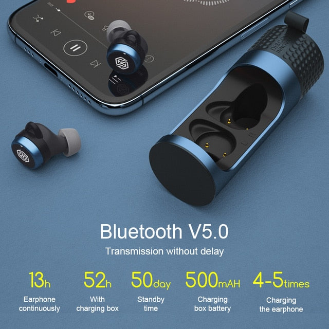 True Wireless Earbuds Nillkin Wireless earphone with Mic, CVC Noise Cancelling headphones Bluetooth 5.0 headset IPX5 Water Proof - Cards and Gadgets