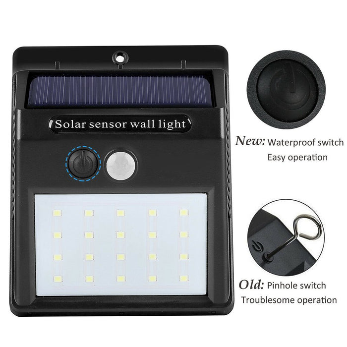Waterproof 20 LED Solar Lights Motion Sensor Wall Light Outdoor Garden Yard Lamp - Cards and Gadgets