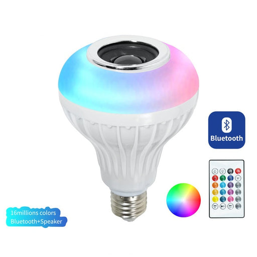 Smart E27 12W Ampoule LED Bulb RGB Light Wireless Bluetooth Audio Speaker Music Playing Dimmable Lamp with APP Remote Control - Cards and Gadgets