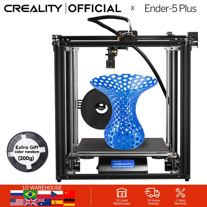 CREALITY 3D Printer Ender-5 Plus Dual Y-axis Motors Glass Build Plate Power off Resume Printing Masks Enclosed Structure - Cards and Gadgets
