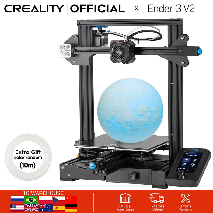 CREALITY 3D New Ender-3 V2 Mainboard With Silent TMC2208 Stepper Drivers 4.3 Inch Touch Lcd Carborundum Glass Bed Printer - Cards and Gadgets