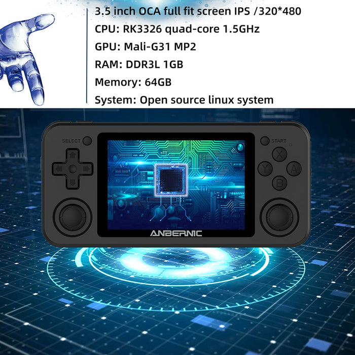 RG351P ANBERNIC Retro Game PS1 RK3326 64G Open Source System 3.5 inch IPS Screen Portable Handheld Game Console RG351gift 2500 - Cards and Gadgets