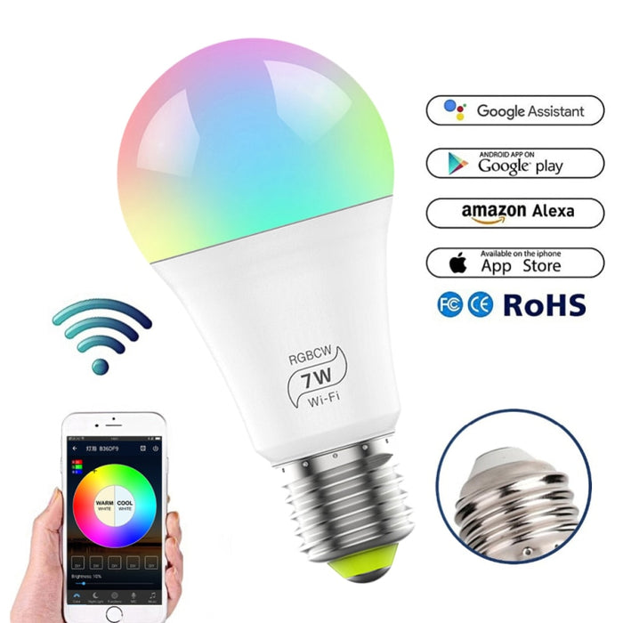 Wifi Smart Multi-Color LED Light Bulb For Amazon Alexa/Google Home Smart Home Control Gadgets Smart Lamp Christmas Smart home - Cards, Collectibles and Gadgets - CCG LLC