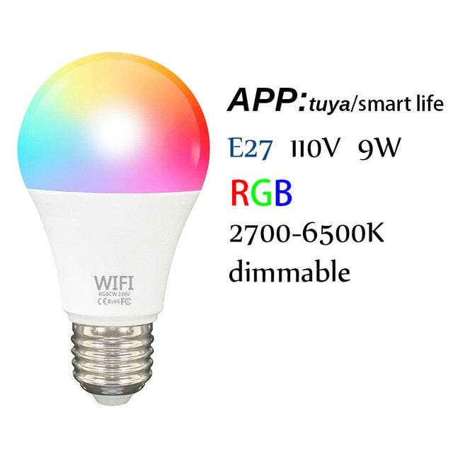 B22/E27 Smart Wifi Bulb Dimming Light Bulb 9W RGB Smart Light Bulb Voice Control work with Alexa Google Home tuya Smart Home - Cards and Gadgets