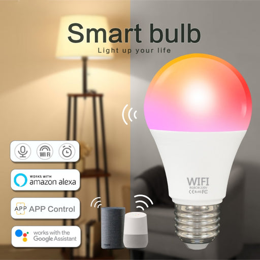 TUYA 9W WiFi Smart Light Bulb E27/B22 LED RGB Lamp Work With Alexa/Google Home RGB+CW+WW Timer Function Magic Bulb Home Lighting - Cards and Gadgets
