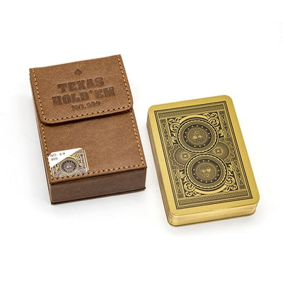 NO.999 Leather Boxed Texas HOLD'EM Luxury Playing Cards Wider and Longer Version of Texas Golden Edges Poker Cards 95*65MM - Cards and Gadgets
