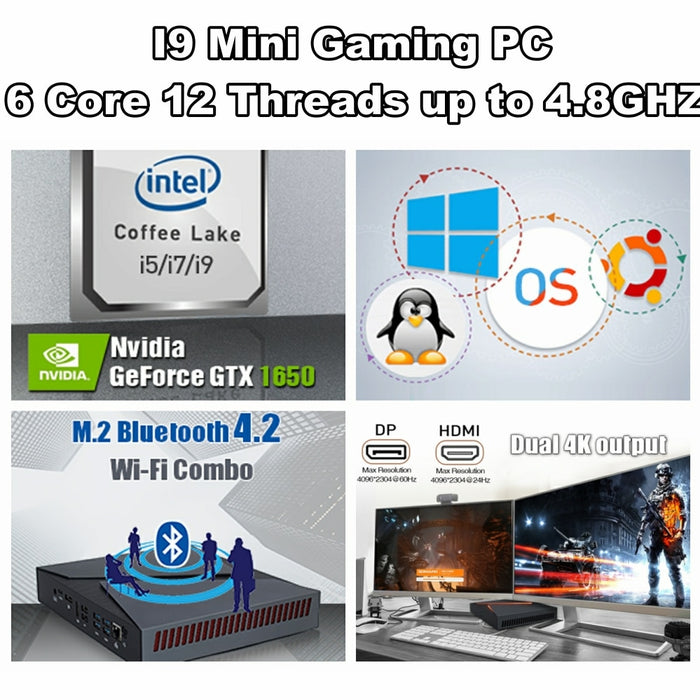 Mini Gaming PC Computer Intel i9 8950HK 6 core with Windows 10 - NVIDIA Graphic Card GTX1650 - Cards and Gadgets