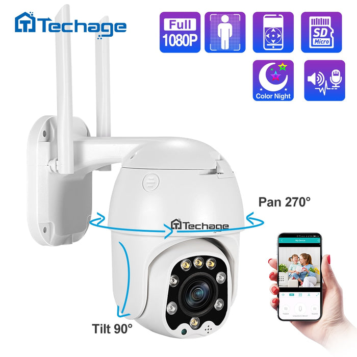 Techage 1080P Pan/Tilt 4x Optical Zoom PTZ IP Camera with Night Vision IP66 Waterproof Outdoor - Cards and Gadgets