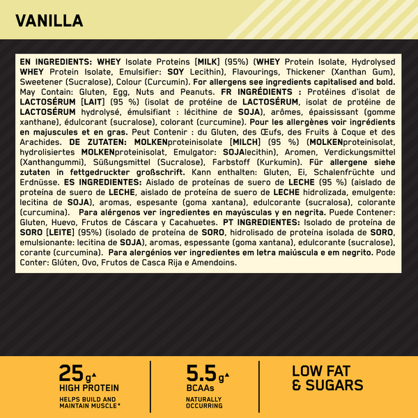 Optimum Nutrition Gold Standard Isolate Protein - nutritional information