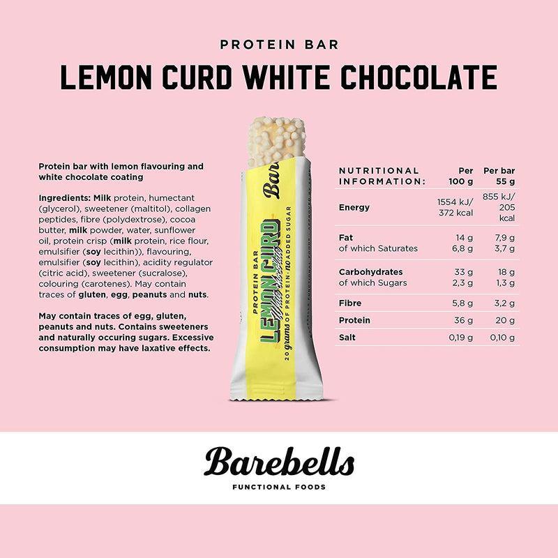 barebells protein bars - lemon curd white chocolate nutrition