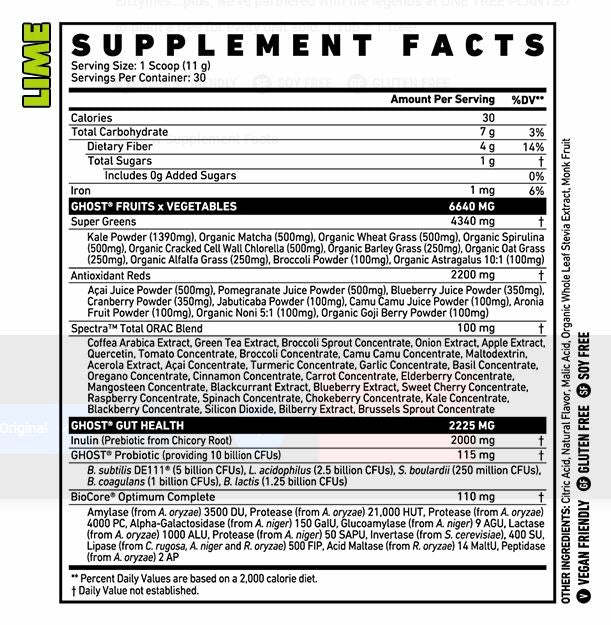 Ghost Lifestyle Greens - nutritional info