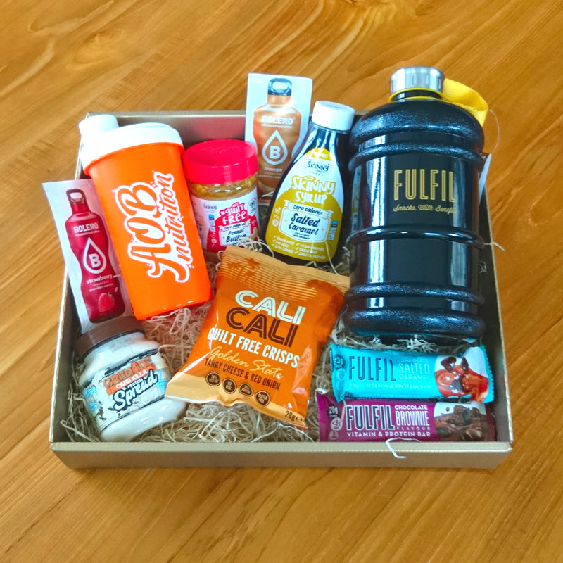 Fitness Gift Hamper - including peanut butter, high-protein snacks, zero-calorie drinks, syrups and more