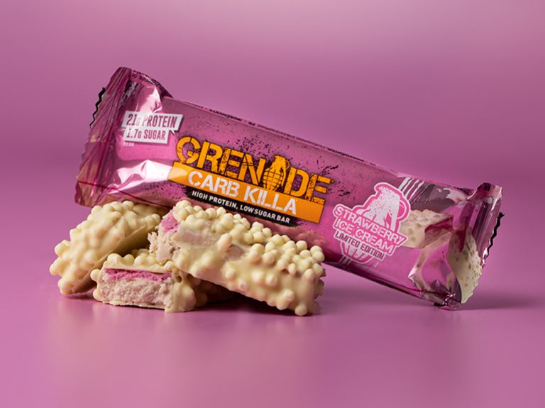 Greande Carb Killa Protein Bar - Strawberry Ice Cream up close