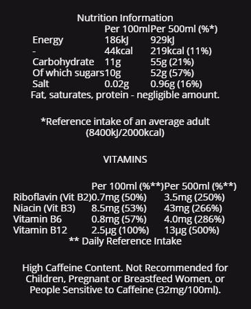 Monster Energy The Doctor (Valentino Rossi) nutritional information