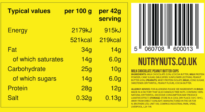 Nutry Nuts Peanut Butter Cups nutrition