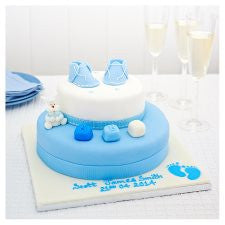 Easy Entertaining Blue Booties Christening Madeira Cake