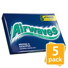 Airwaves Menthol And Eucalyptus Gum 5 Pack
