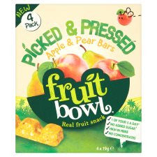Fruit Bowl Picked And Pressed Apple Pear Bar 4X19g