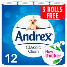 Andrex Classic Clean Toilet Tissues 9+3 Roll