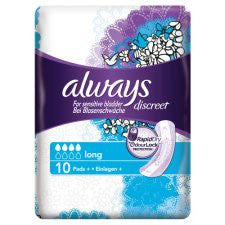 Always Discreet Long Incont Pads 10 Pack