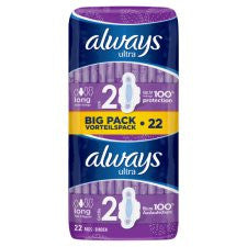 Always Ultra Long Sanitary Towels Plus Wings Duo 22 Pack