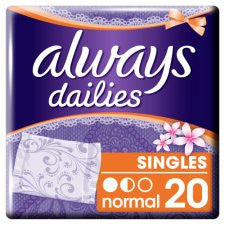 Always Dailies Normal Individually Wrapped And Folded Panty Liners 20 Pack