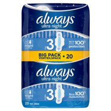 Always Ultra Night Time Secure Sanitary Towels Duo 20 Pack