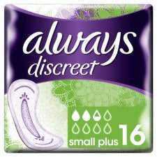 Always Discreet Small Plus Incont Pads 16 Pack