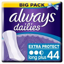 Always Dailies Long Plus Panty Liners 44 Pack