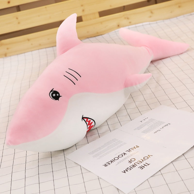 Grosse peluche rose requin ultra doux