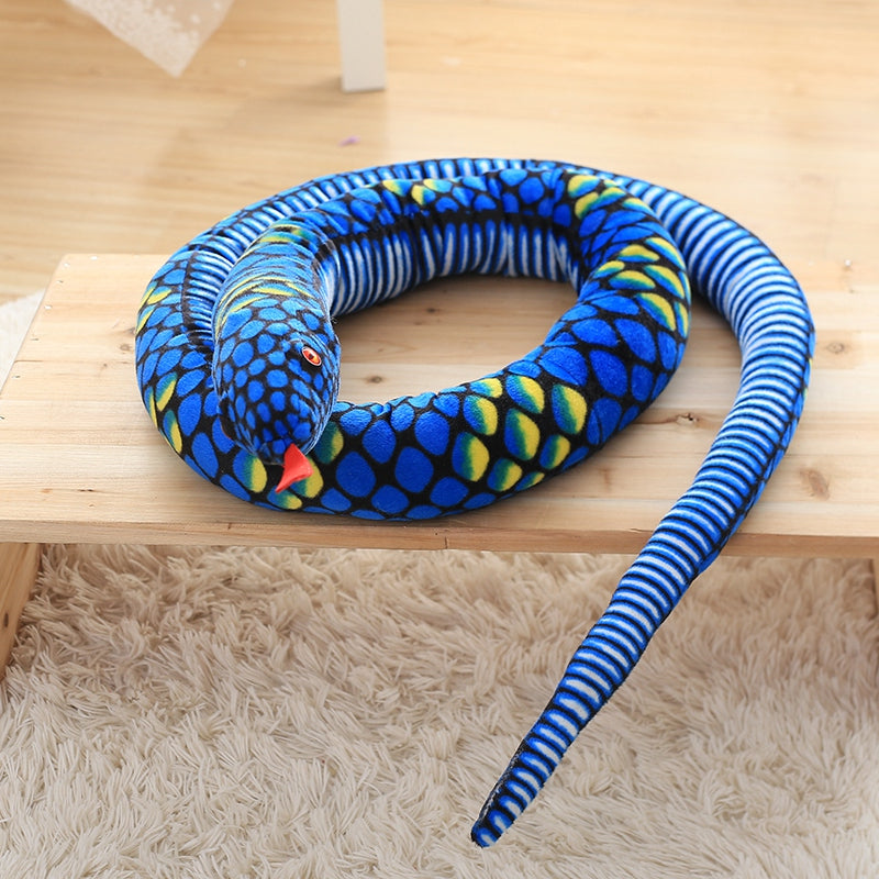 Long serpent bleu en peluche pour s'amuser