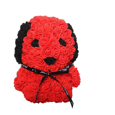 HOT Valentines Day Gift 25cm Red Rose Teddy Bear And Dog Rose Flower Artificial Decoration Christmas Gifts Women Valentines Gift