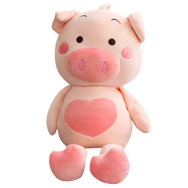 Big Kawaii Cuddly Pig Stuffed Doll Plush Piggy Toy With Love Heart Animals Soft Kids Comforting Gift Valentine Present