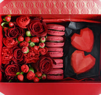 red flower box with macarons
