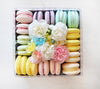 flower box with 16 macarons