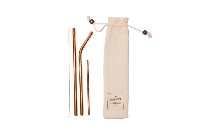Ultimate Rose Gold straw set - The Greater Goods Collective Eco Products