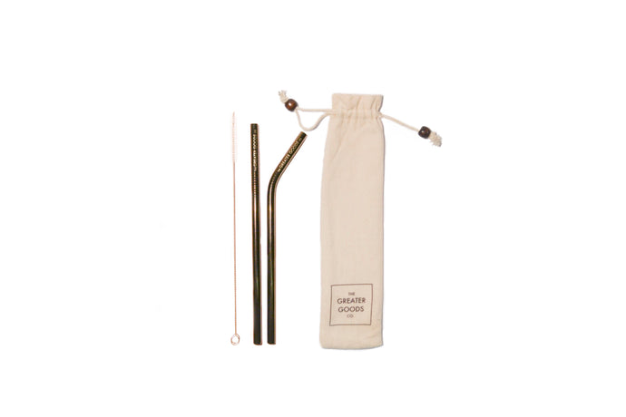 Gunmetal Black Reusable Straw Set - The Greater Goods Collective Eco Products