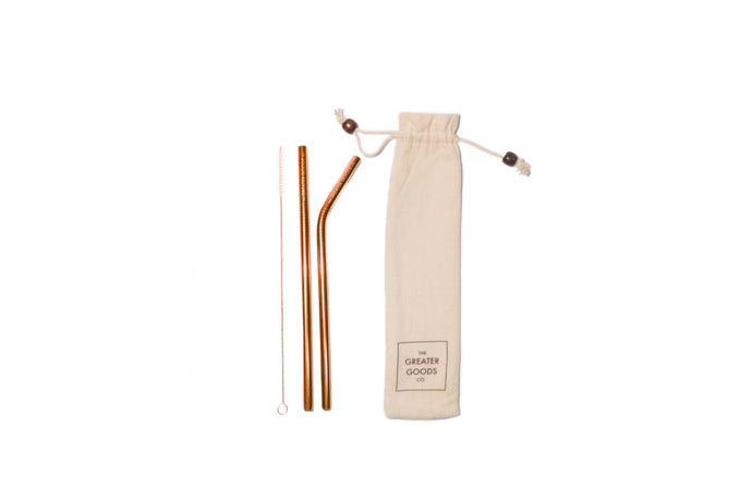 Rose Gold Reusable Straw Set - The Greater Goods Collective Eco Products