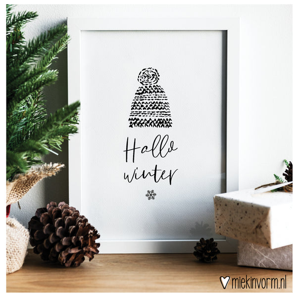 A4 poster zwart-wit | Hallo Winter