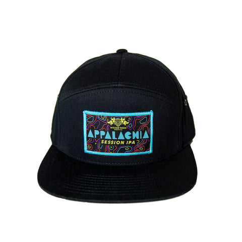 Black Appalachia 7 Panel Leather Strapback