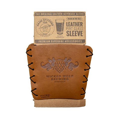 Wicked Weed Leather Pint Koozie