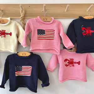 Kids cotton roll-neck lobster sweater, vintage cotton kids flag sweater, Navy kids lobster sweater, Kids Navy American Flag Sweater, Girls Pink Cotton Lobster Sweater.