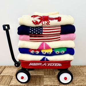 Red Wagon roll neck sweater for kids . Classic cotton sweaters made from 100% Peruvian cotton.
