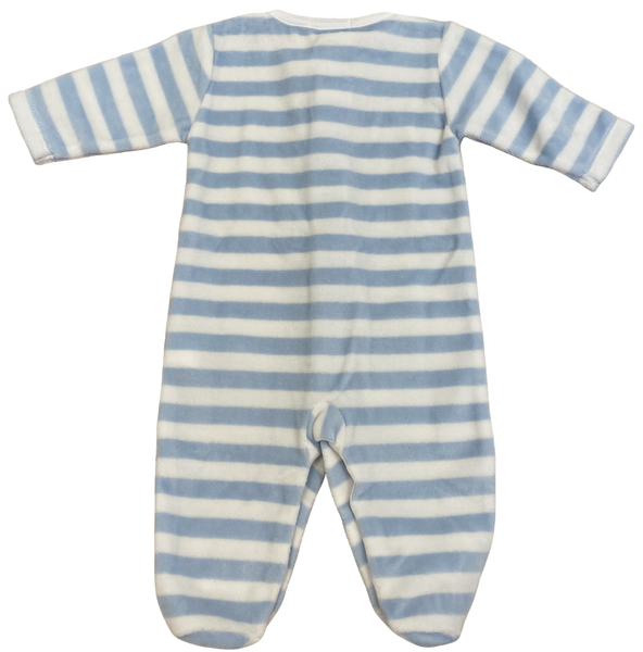 Light Blue Striped Velour Footie