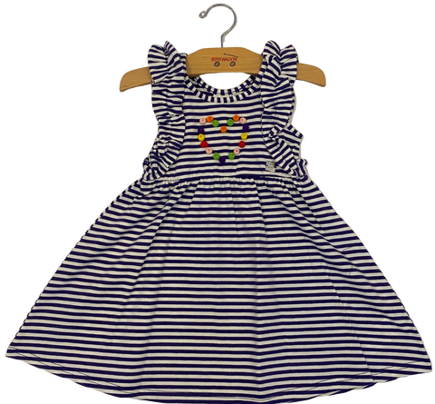 Purple Striped Pom-Pom Heart Dress